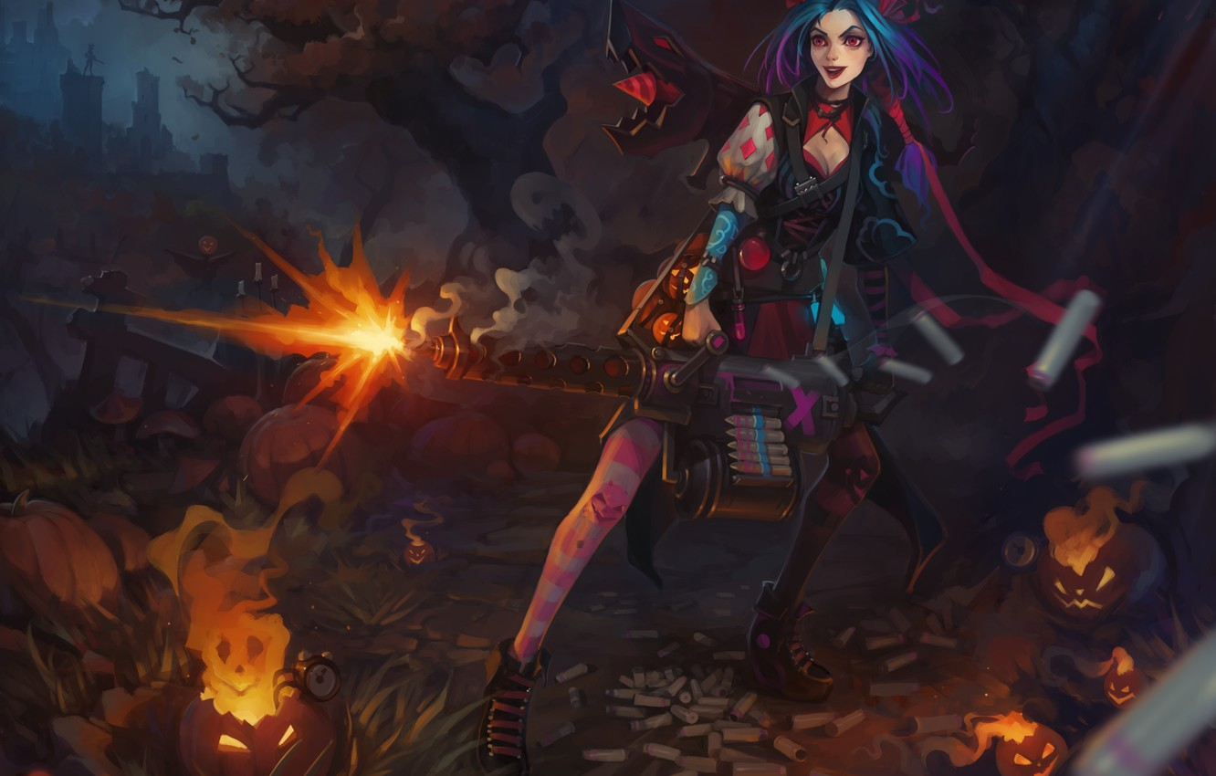 Wallpaper Halloween League Of Legends Jinx Images For Desktop