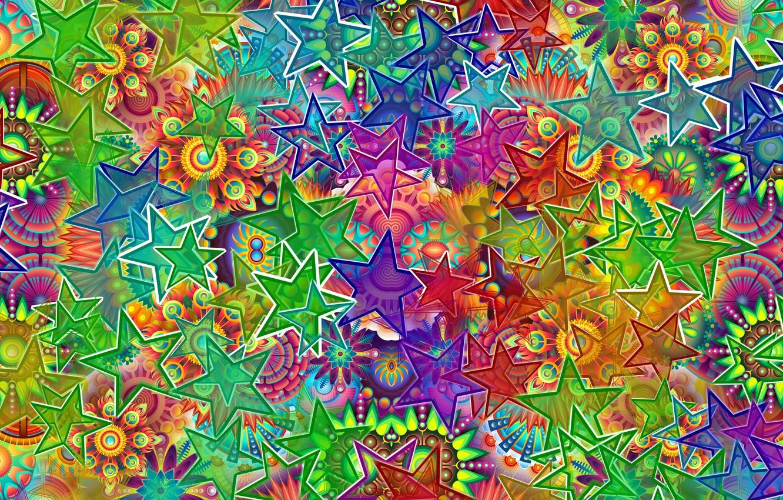 Photo wallpaper pattern, stars, colorful