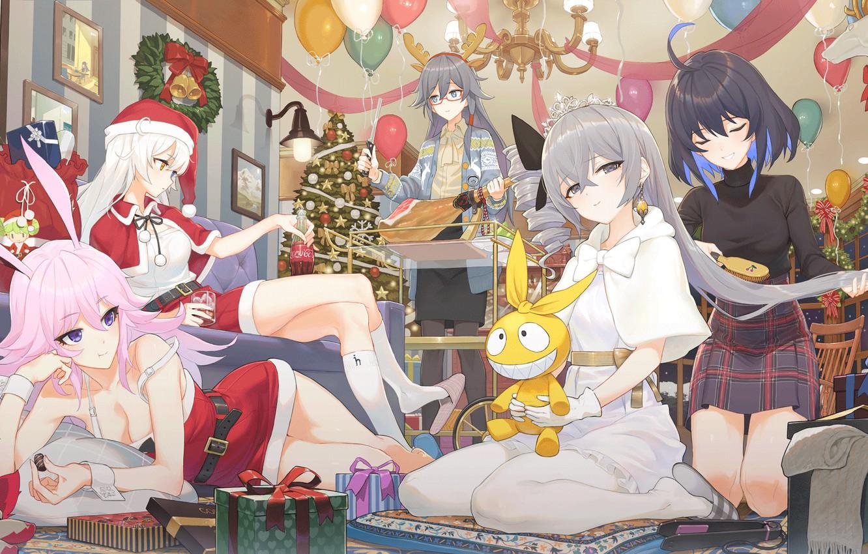 Photo wallpaper girls, new year, Christmas, Honkai Impact 3rd