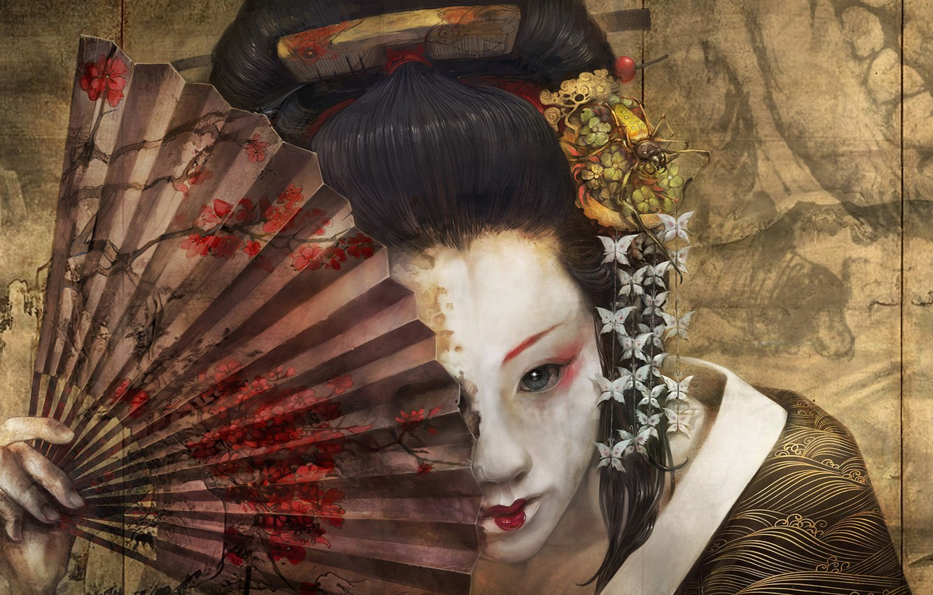 Photo wallpaper face, spider, makeup, fan, comb, hairstyle, geisha, flower in hair, Grimm, memoirs of a geisha, …