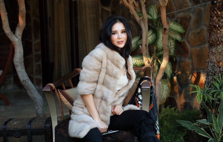 Photo wallpaper look, plants, chair, brunette, coat, Malena