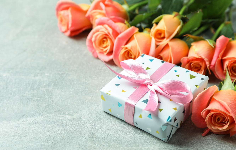 Photo wallpaper gift, roses, congratulations, Atlascompany