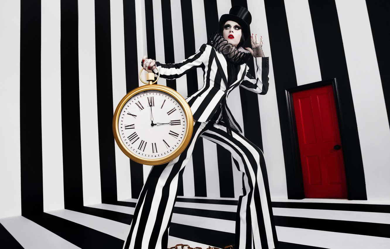 Photo wallpaper girl, strip, watch, alarm clock, Style, black and white