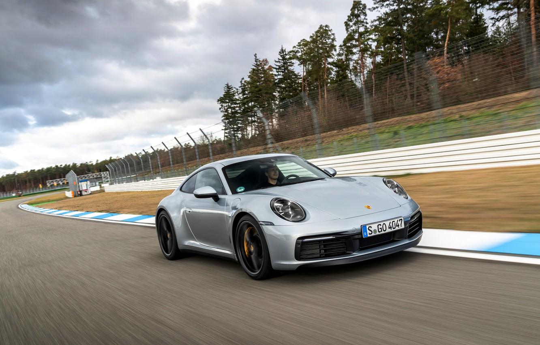 Photo wallpaper coupe, speed, 911, Porsche, track, Carrera 4S, 992, 2019
