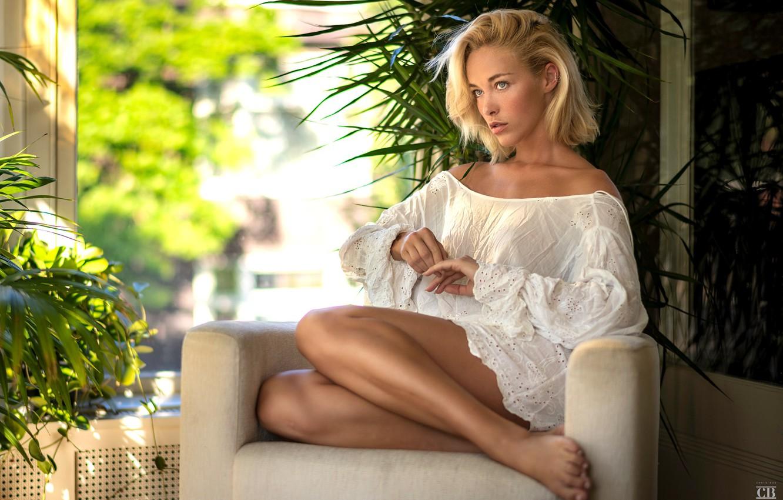 Photo wallpaper girl, legs, photo, photographer, blue eyes, barefoot, model, lips, blonde, armchair, sitting, shirt, portrait, feet, …