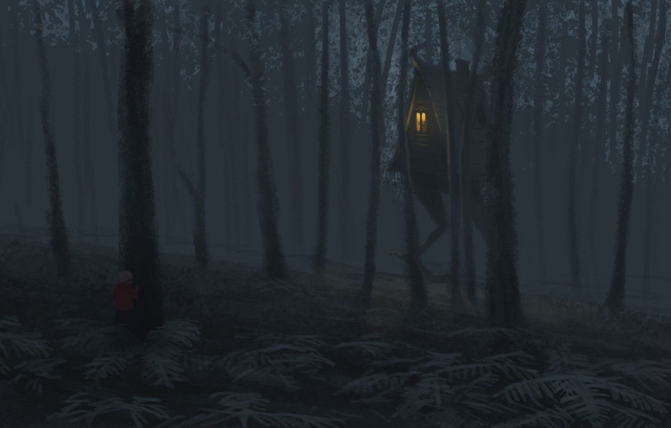 Photo wallpaper forest, trees, hut, child, fantasy, art, gloomy
