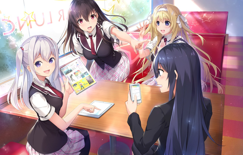 Photo wallpaper the game, Girls, anime, phone, school uniform