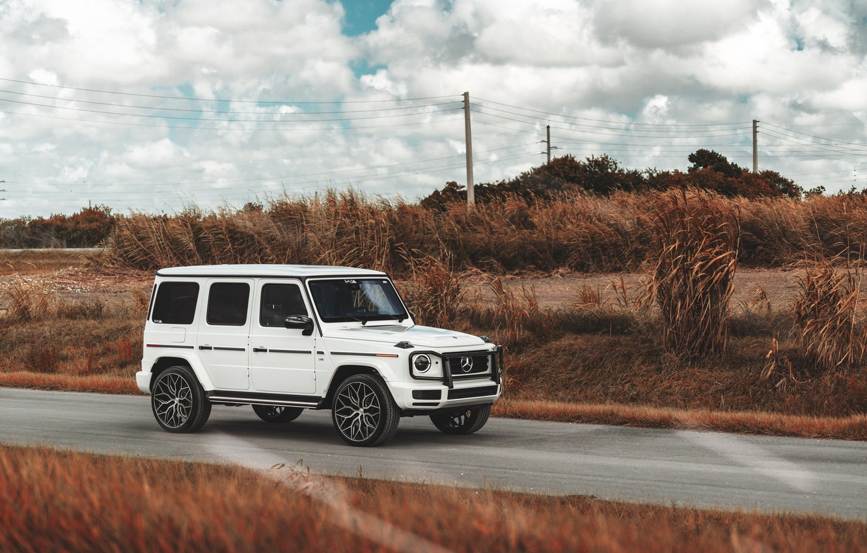 Photo wallpaper Mercedes, White, G500, Field, G-class, W464