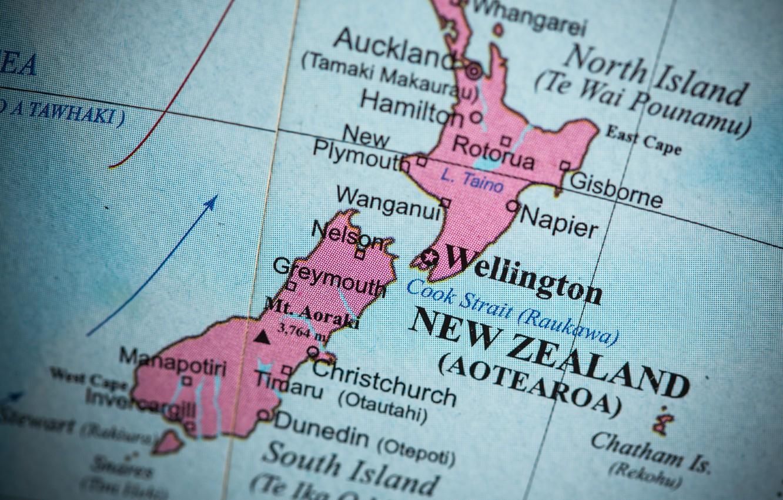 Photo wallpaper colors, New Zealand, map, oceania