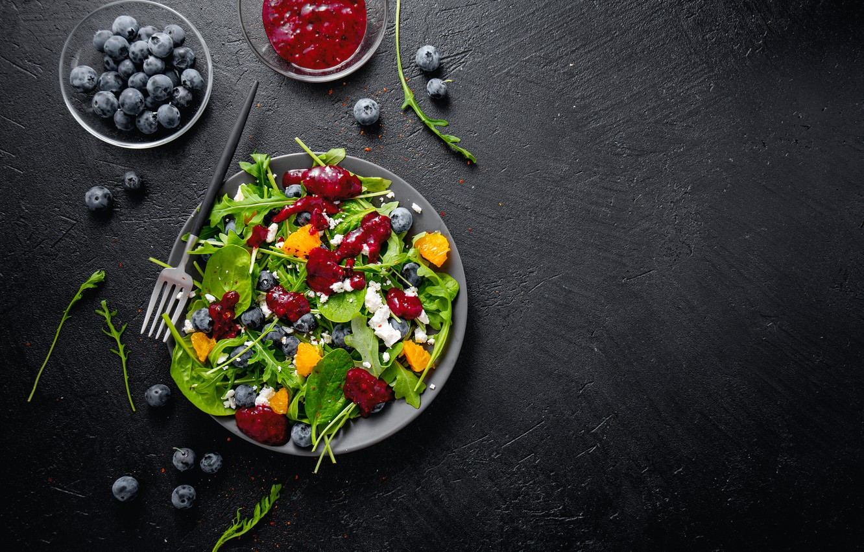 Photo wallpaper berries, cheese, fruit, salad, lettuce, summer