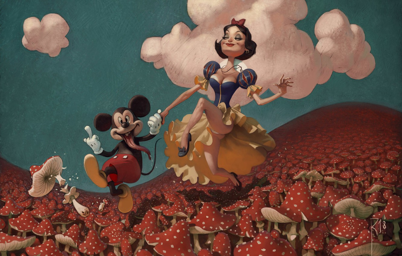 Photo wallpaper Figure, Mushrooms, Background, Fuck, Art, Snow white, Mickey Mouse, Mickey Mouse, Mickey, Illustration, Snow White, …