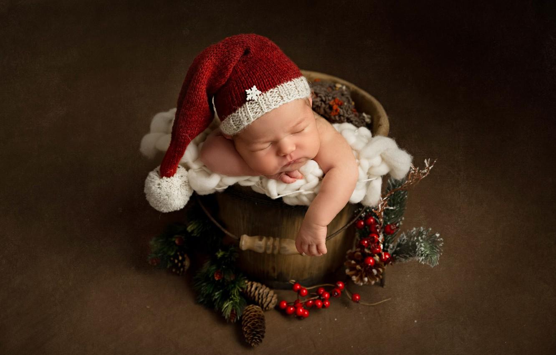 Photo wallpaper berries, background, Christmas, bucket, New year, bumps, child, cap, baby