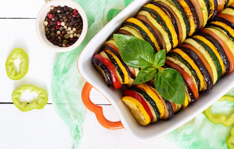 Photo wallpaper Ratatouille, eggplant, pepper, vegetables, spices, zucchini, Basil