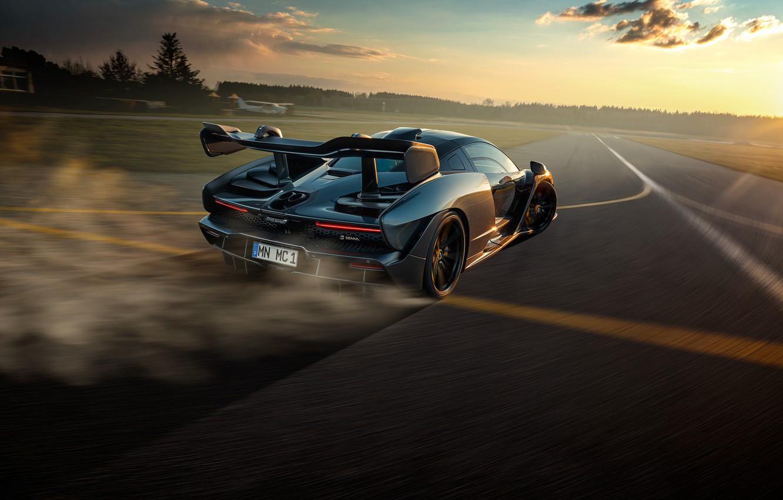 Photo wallpaper sunset, McLaren, speed, the evening, supercar, Senna, Novitec, 2020