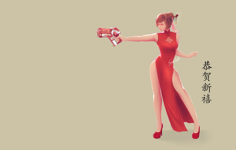 Photo wallpaper Art, Weapon, Minimalism, Chinese, Dress, Mei, Overwatch, Game Art, Mei-Overwatch, Apipol Chongjiamjit, Sahlea