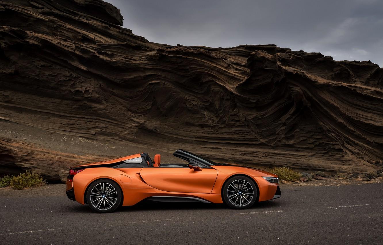Photo wallpaper road, rock, BMW, Roadster, 2018, i8, dark orange, i8 Roadster