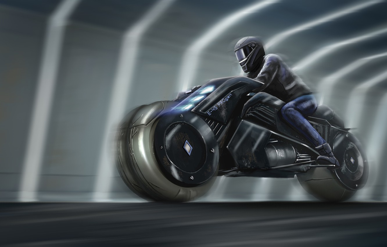 Wallpaper Figure Future Speed Bike Moto Fantasy Art