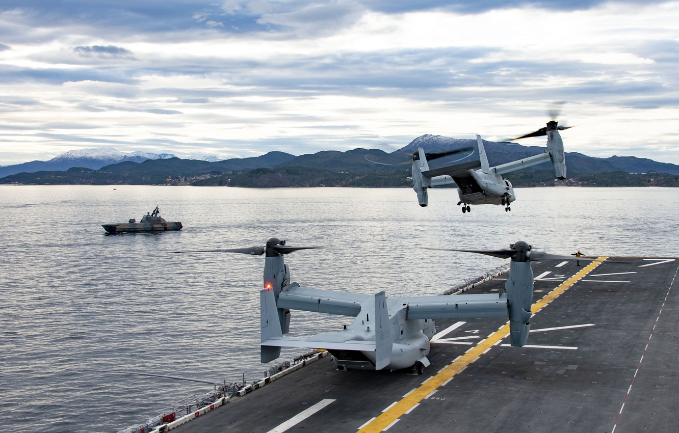 Photo wallpaper Sea, The tiltrotor, The Norwegian sea, US NAVY, MV-22B Osprey, US Marine Corps, Norwegian Navy, …