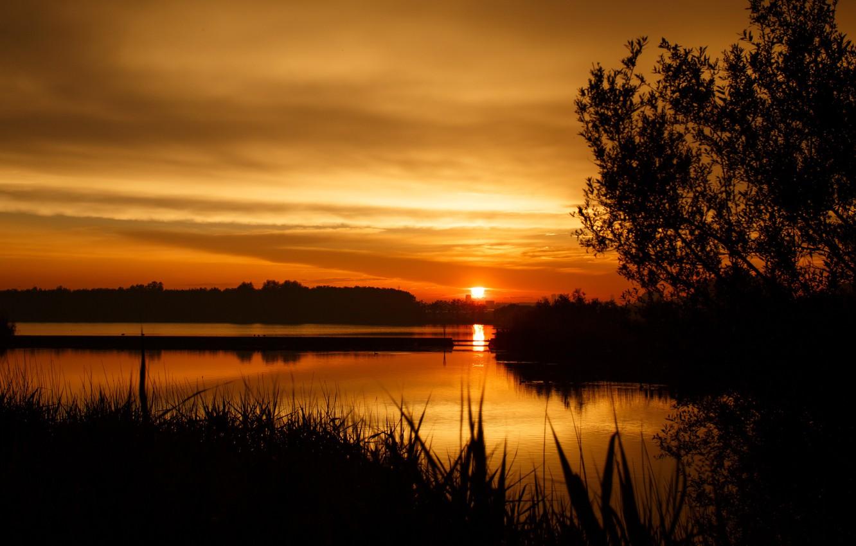 Photo wallpaper the sky, the sun, sunset, Lake, Landscape