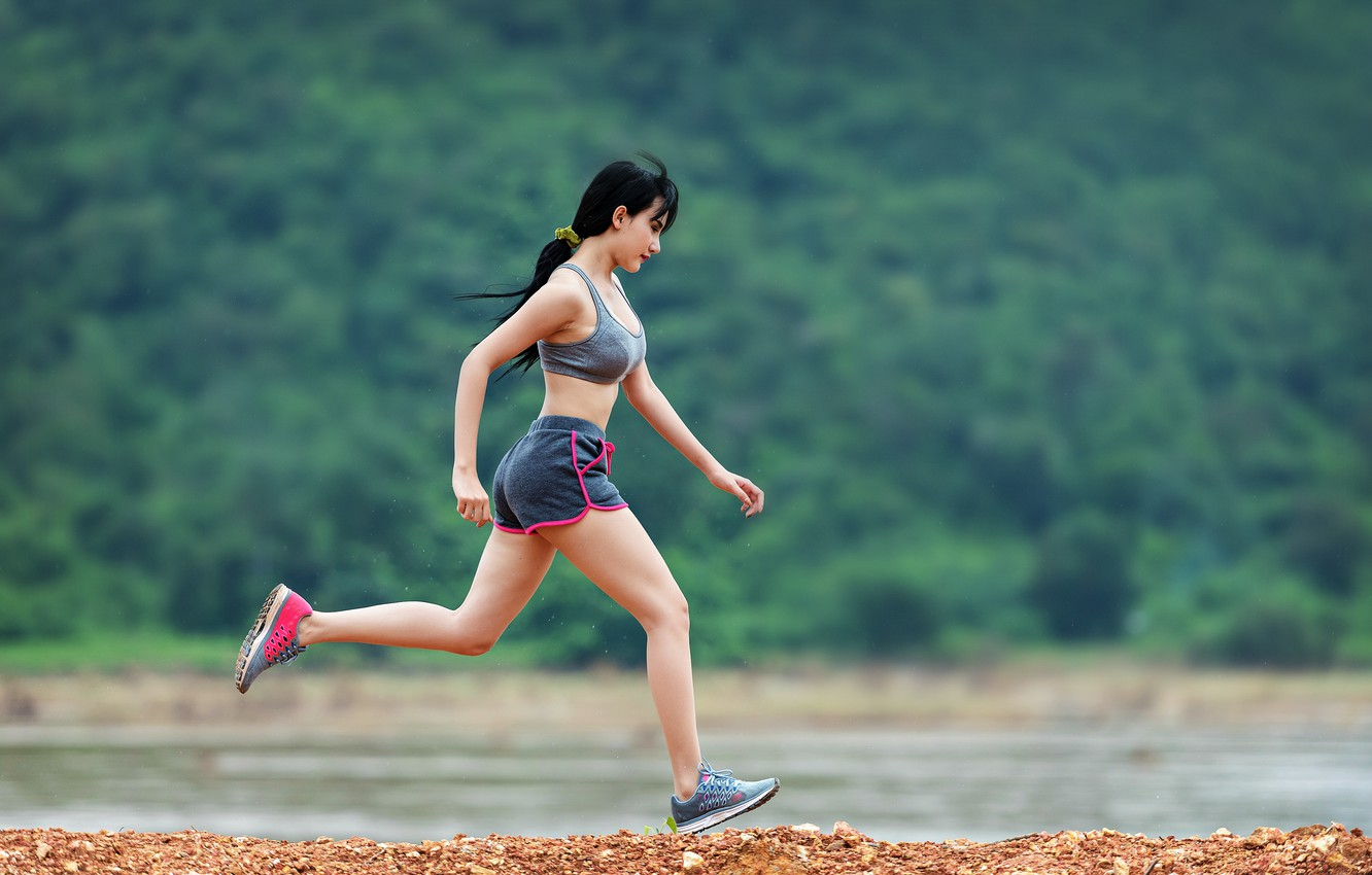 Wallpaper woman, asian, sneakers, running, fit, fitnees images for desktop,  section девушки - download