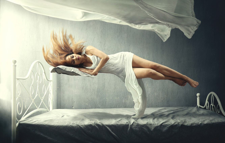 Фото обои девушка, сон, girl, сон, левитация, левитация