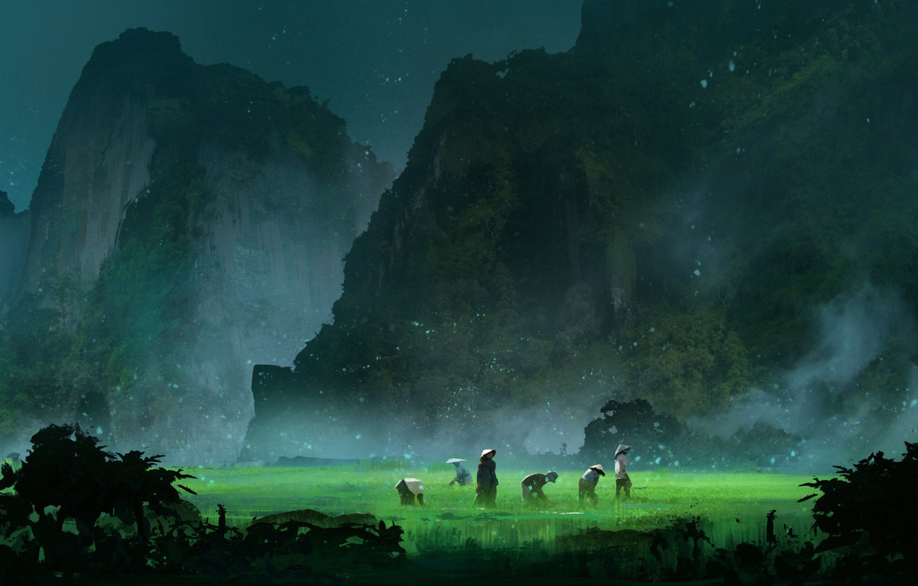 Photo wallpaper Valley, Firefly, Environments, Misty Day, Hernan Flores, by Hernan Flores, Working, Rice Paddy, Firefly Valley