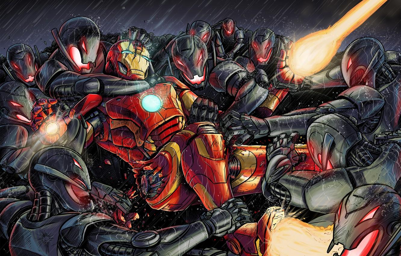 Photo wallpaper Style, Battle, Fantasy, Iron man, Art, Art, Robot, Robots, Style, Fiction, Iron Man, Fiction, Illustration, …