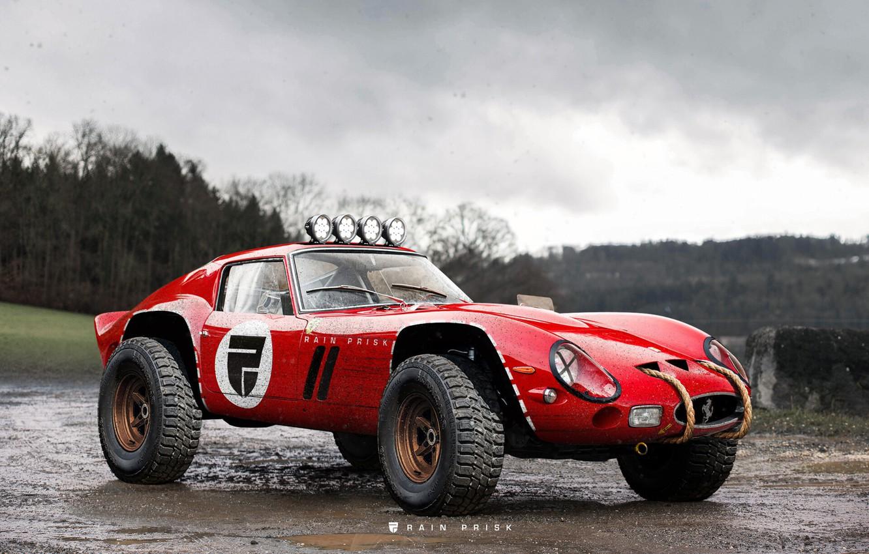Photo wallpaper Red, Machine, Tuning, Car, Render, SUV, Rendering, Concept Art, Ferrari 250 GTO, Rain Prisk, by …