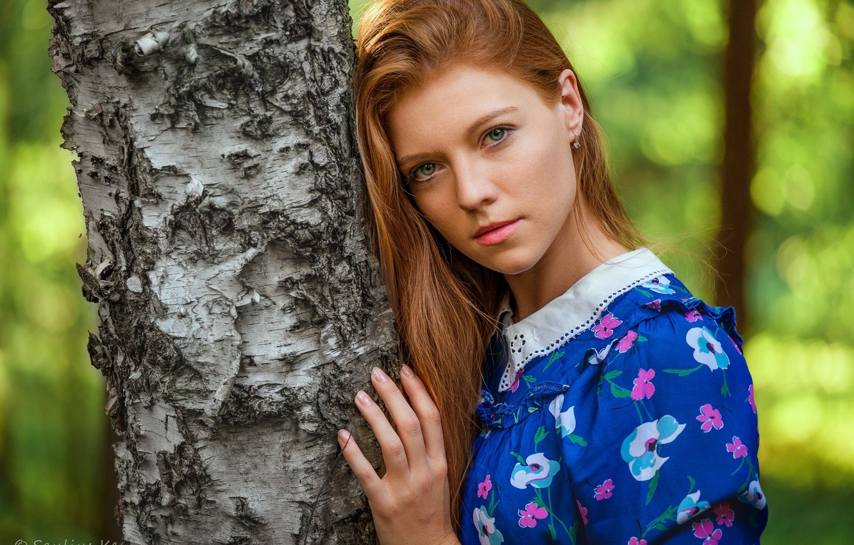 Photo wallpaper look, pose, model, portrait, makeup, hairstyle, beauty, is, redhead, bokeh, the tree, Saul Ke