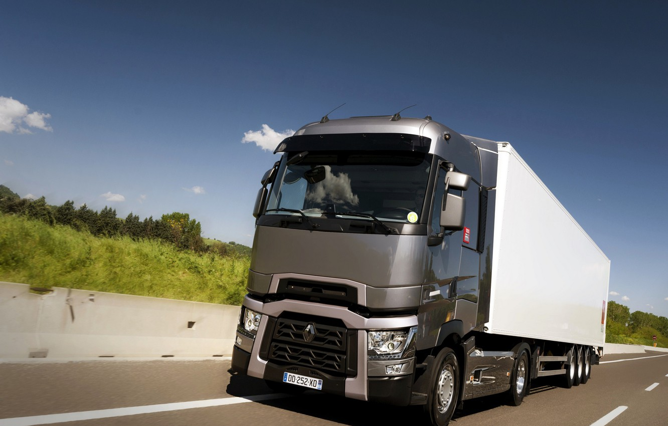 Photo wallpaper grey, track, the fence, truck, Renault, tractor, 4x2, the trailer, Renault Trucks, T-series