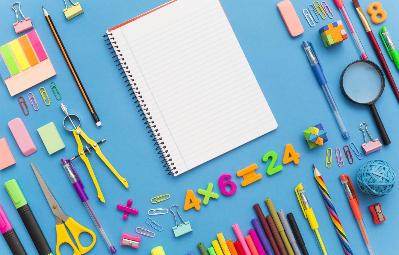 Photo wallpaper pencils, handle, notebook, scissors, clip, eraser