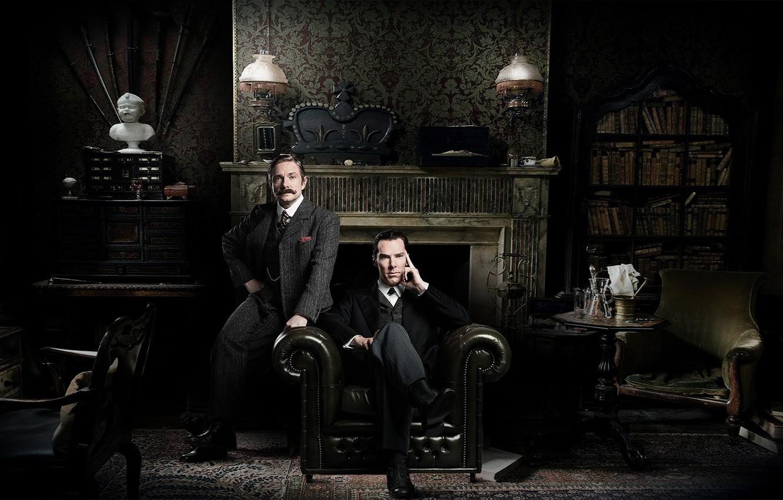 Wallpaper Martin Freeman Benedict Cumberbatch Sherlock