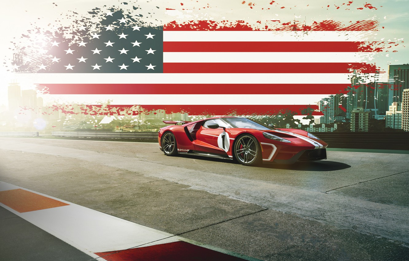 Photo wallpaper Ford, Muscle, USA, RED, America, SuperCar