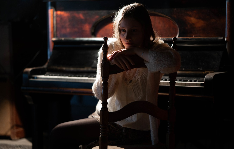 Photo wallpaper girl, mood, piano