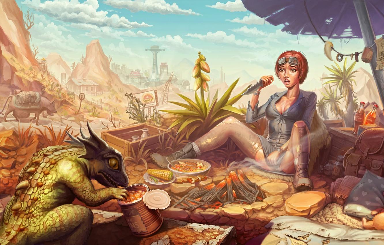 Photo wallpaper girl, fright, knife, lizard