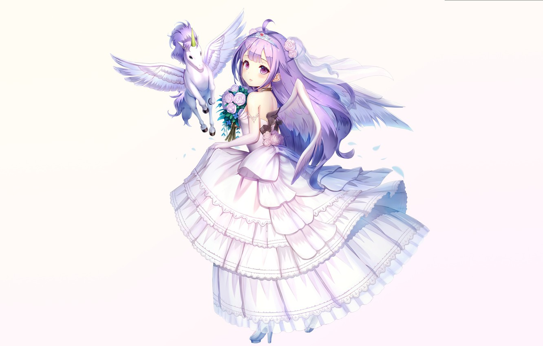 Photo wallpaper Girl, Unicorn, The bride, Pegasus, Azur Lane