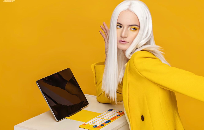 Photo wallpaper girl, pose, style, makeup, blonde, keyboard, jacket, tablet, white hair, yellow background, Eugene Angels, ANGELOV
