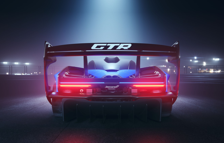 Photo wallpaper machine, light, night, McLaren, GTR, spoiler, Senna, track car