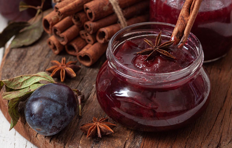 Photo wallpaper cinnamon, jam, spices, drain, Anis