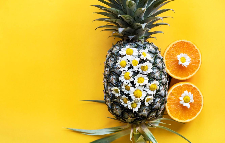 Photo wallpaper orange, chamomile, pineapple