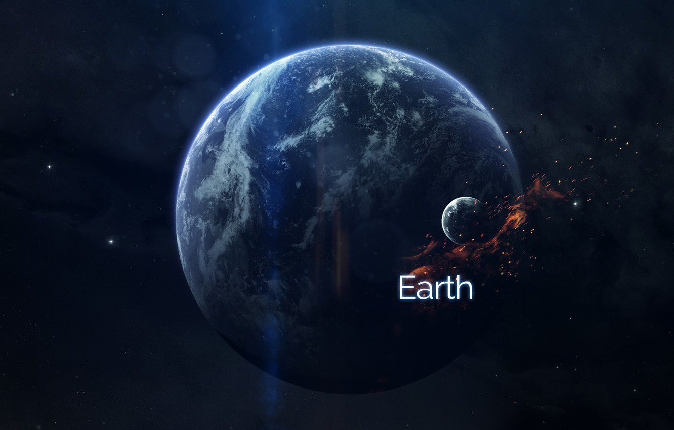 Photo wallpaper Stars, Planet, Space, Earth, Planet, Sparks, Planets, Art, Stars, Space, Art, Earth, Satellite, Planet, Fiction, ...