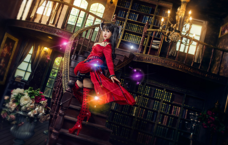 Photo wallpaper look, girl, light, flowers, red, lights, pose, glare, style, the dark background, castle, room, books, …