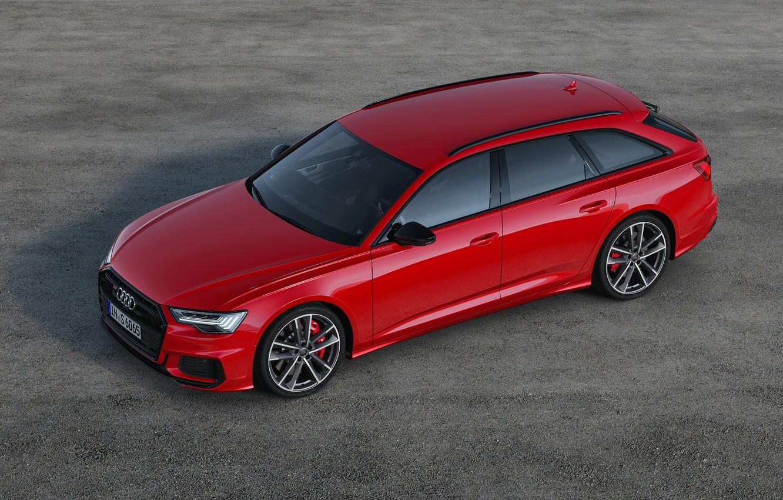 Photo wallpaper asphalt, red, background, Audi, universal, 2019, A6 Avant, S6 Before