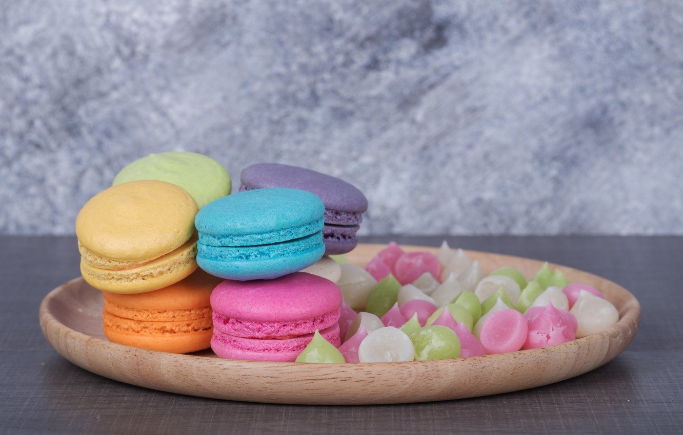 Photo wallpaper colorful, dessert, pink, cakes, sweet, sweet, dessert, bright, macaroon, french, macaron, macaroon