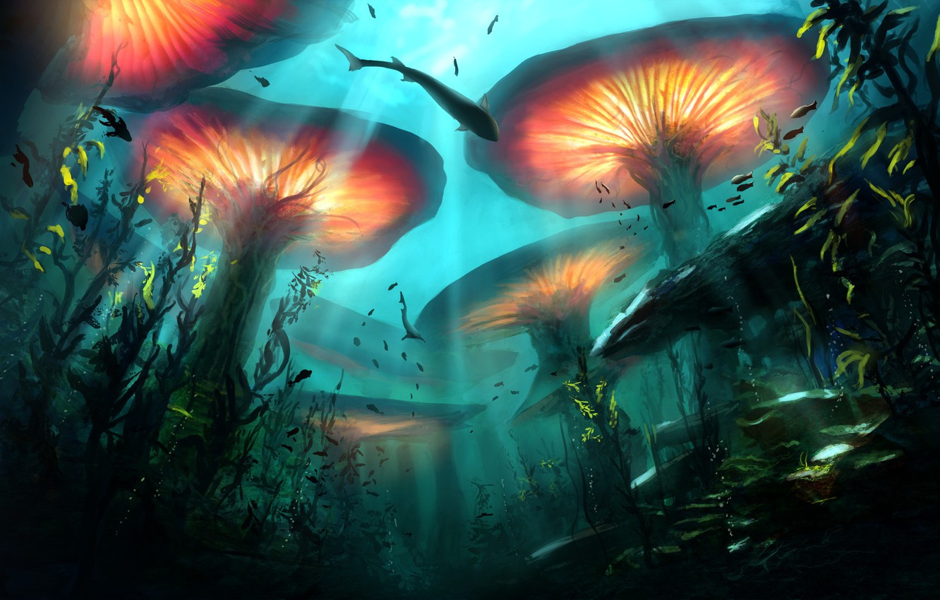 Photo wallpaper fish, plants, depth, fantasy, art, underwater world
