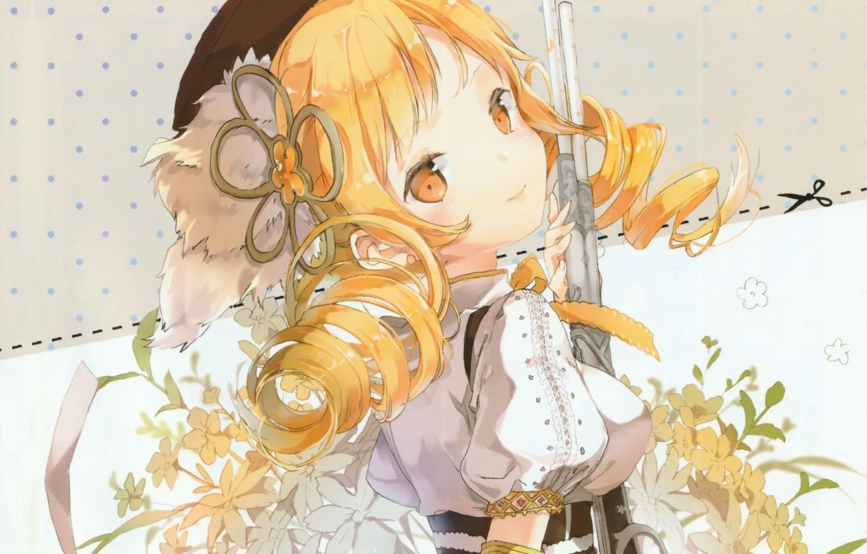 Photo wallpaper the gun, takes, mahou shoujo madoka magica, flower in hair, Tomoe Mami, white blouse, sideways, …