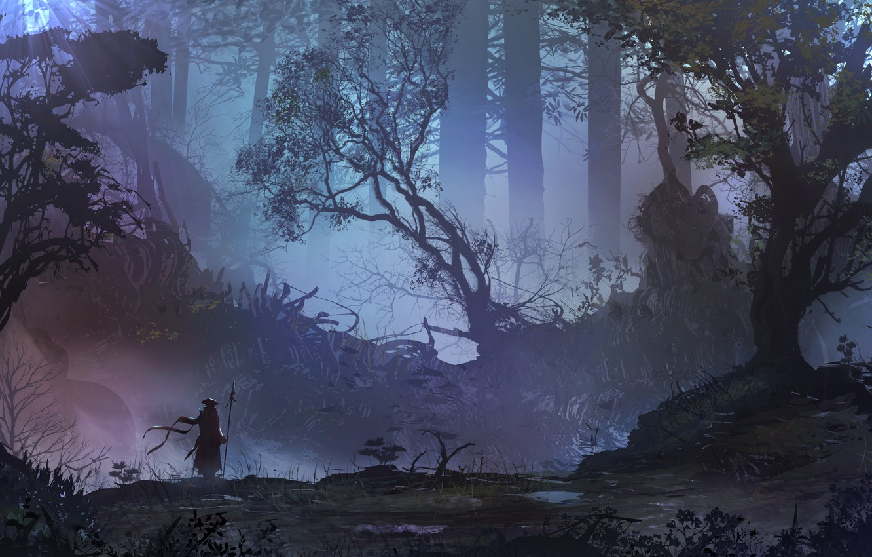 Photo wallpaper Figure, Forest, Silhouette, Landscape, Art, Landscapes, Digital Art, TacoSauceNinja, by TacoSauceNinja, Someone going somewhere