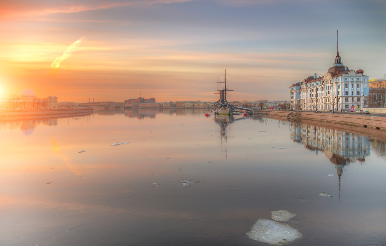Photo wallpaper ice, river, dawn, Saint Petersburg, Ed Gordeev