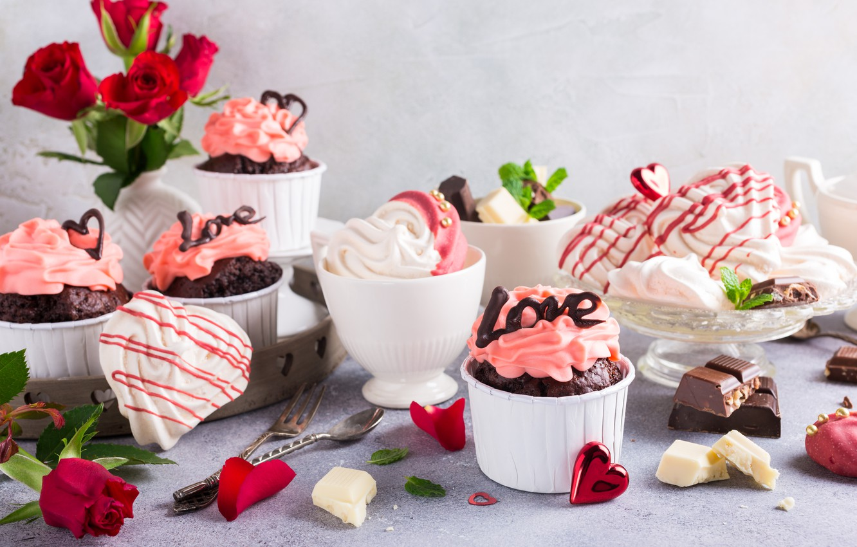 Photo wallpaper decoration, cake, dessert, chocolate, meringue, cupcakes, Iryna Melnyk