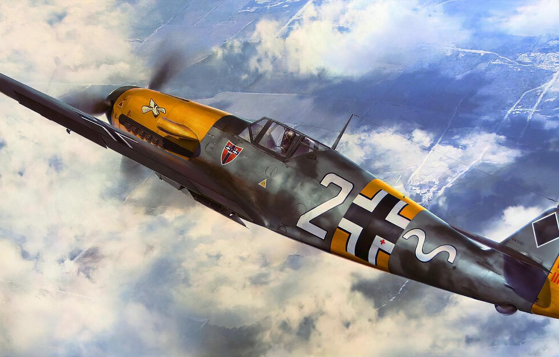 Photo wallpaper art, painting, aviation, bf-109, ww2